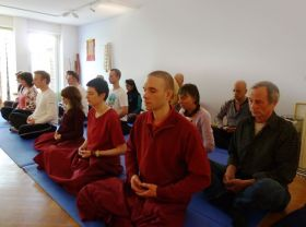 Students practise meditation during Ven. Lama Dondrup Dorje's teachings in Dordrecht, Netherland