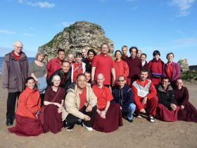 Ven. Lama Dondrup Dorje with students at the coast