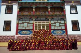 Members of the Ordained Sangha at the Palyul Choekhorling Monastery in Bir, India