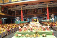 Offerings at the Golden Temple in Namdroling Monastery during pujas for the long life and good health of HH Penor Rinpoche